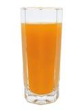Persikafruktfruktsaft i isolerat exponeringsglas Arkivbild