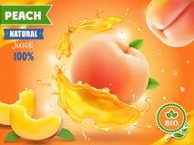 Persikafruktsaft Realistisk färgstänk av fruktsaft med persikaadvertizing royaltyfri illustrationer