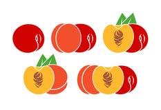 Persikalogo Isolerad persika på vit bakgrund Arkivbilder