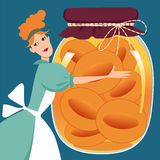 Persikor i en krus Royaltyfri Foto