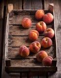 Persikor i gammal lantlig träask Arkivfoto
