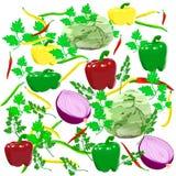 Persil de haricot d'oignons de poivre de chou Photo stock