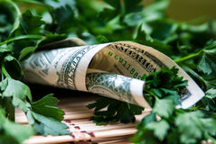 Persil, enveloppé en un dollar Photo libre de droits