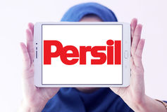 Persil laundry detergent logo. Logo of persil laundry detergent or washing powder on samsung tablet holded by arab muslim woman Stock Photos