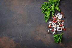 Persil, sel et poivre Fond culinaire photos libres de droits
