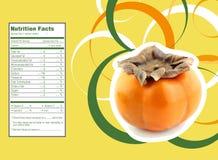 Persimmon γεγονότα διατροφής φρούτων Στοκ Φωτογραφία
