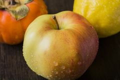Persimmon και λεμόνι της Apple στον πίνακα Στοκ φωτογραφία με δικαίωμα ελεύθερης χρήσης