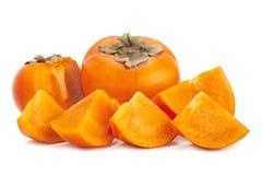 Persimmon κινηματογράφηση σε πρώτο πλάνο φρούτων στο λευκό στοκ φωτογραφίες με δικαίωμα ελεύθερης χρήσης