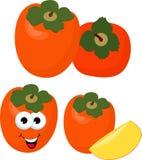 Persimmon με το σύνολο φύλλων και τις φέτες persimmons Απεικόνιση ράστερ persimmon χαρακτήρας κινουμένων σχ&eps ελεύθερη απεικόνιση δικαιώματος
