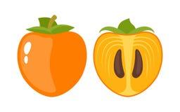 Persimmon, ολόκληρα φρούτα και μισός απεικόνιση αποθεμάτων