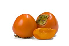 Persimmon. S isolated on white background royalty free stock image