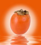 Persimmon. Red persimmon over rendered water Royalty Free Stock Image