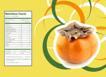 Persimmon fruit nutrition facts. Creative Design for persimmon fruit with Nutrition facts label Stock Photography