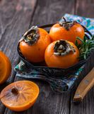 Persimmon, Fruit, Orange, Table Stock Images