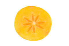 Persimmon fruit slice on white Royalty Free Stock Photos