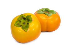 Persimmon isolated on white background.Orange ripe persimmon isolated over white Royalty Free Stock Photography