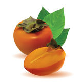 Persimmon with leaves and half persimmon Stock Photos