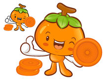 Persimmon Mascot the Left hand best gesture. Fruit Character Des Royalty Free Stock Image