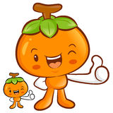 Persimmon Mascot the Right hand best gesture. Fruit Character De Royalty Free Stock Photography