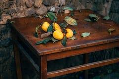 Persimmon on retro desk. Persimmon tree ( kaki ) with fruits Royalty Free Stock Photos