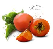Persimmon and splashes Stock Photos