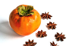 Persimmon and Star Anise Stock Photos