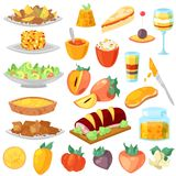 Persimmon vector fresh fruity food dessert and sweet fruit of persimmon-tree illustration set of vegetarian nutrition. Diet isolated on white background royalty free illustration