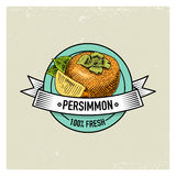 Persimmon Vintage, hand drawn fresh fruits background, summer plants, vegetarian and organic citrus and other, engraved. Stock Photo