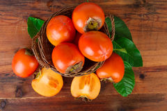 Persimmons fruits Top view Royalty Free Stock Photography
