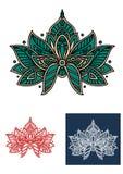 Persische Smaragdblume mit Paisley-Elementen Lizenzfreie Stockfotos
