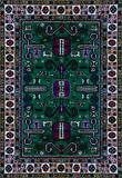 Persischer Teppich-Beschaffenheit, abstrakte Verzierung Rundes Mandalamuster, östliche traditionelle Teppichoberfläche Grünes rot lizenzfreies stockbild