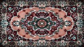 Persischer Teppich-Beschaffenheit, abstrakte Verzierung Rundes Mandalamuster, nahöstliche traditionelle Teppich-Gewebe-Beschaffen vektor abbildung