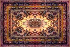 Persischer Teppich-Beschaffenheit, abstrakte Verzierung Rundes Mandalamuster, nahöstliche traditionelle Teppich-Gewebe-Beschaffen stockbilder