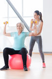 Persistent positive woman exercising on a fitness ball. Build up your muscles. Good looking happy old women holding yellow dumbbells and exercising with them Stock Photography