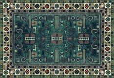 Perskiego dywanu tekstura, abstrakcjonistyczny ornament Round mandala wzór, Wschodnia Tradycyjna dywan powierzchnia Turkus zielon Zdjęcie Royalty Free