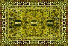 Perskiego dywanu tekstura, abstrakcjonistyczny ornament Round mandala wzór, Wschodnia Tradycyjna dywan powierzchnia Turkus zielon Zdjęcia Royalty Free