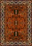 Perskiego dywanu tekstura, abstrakcjonistyczny ornament Round mandala wzór, Wschodnia Tradycyjna dywan powierzchnia Turkus zielon Fotografia Royalty Free