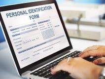 Persönliches Identifizierungs-Form-Anwendungs-Konzept Lizenzfreies Stockbild