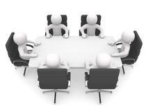 Person 3d an einem Konferenztische. Führung und Team Lizenzfreie Stockfotos