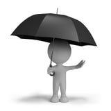 Person 3d mit einem Regenschirm Lizenzfreie Stockbilder