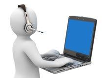Person 3d mit Kopfhörern und Notizbuch vektor abbildung