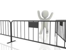 Person 3d mit metallischem Zaun Stockbild