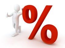 Person 3d mit procent Zeichen Stockfoto