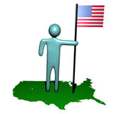 Person with American flag on map Royalty Free Stock Photography