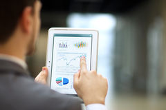 person analyzing financial statistics displayed on the tablet screen Royalty Free Stock Photos