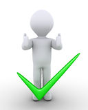 Person approves proposition. 3d person with his thumbs pointing up is behind a check mark Royalty Free Stock Photo