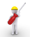 Person as worker with screwdriver Stock Photos