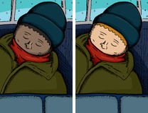 Person Asleep on Bus. In dark and light skinned versions Stock Images