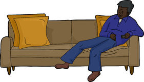 Person Asleep on Couch. Sleeping adult male in blue with remote control on couch Stock Photo