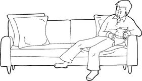 Person Asleep on Sofa with Snack. Outline cartoon of person sleeping on sofa with snack Royalty Free Stock Image